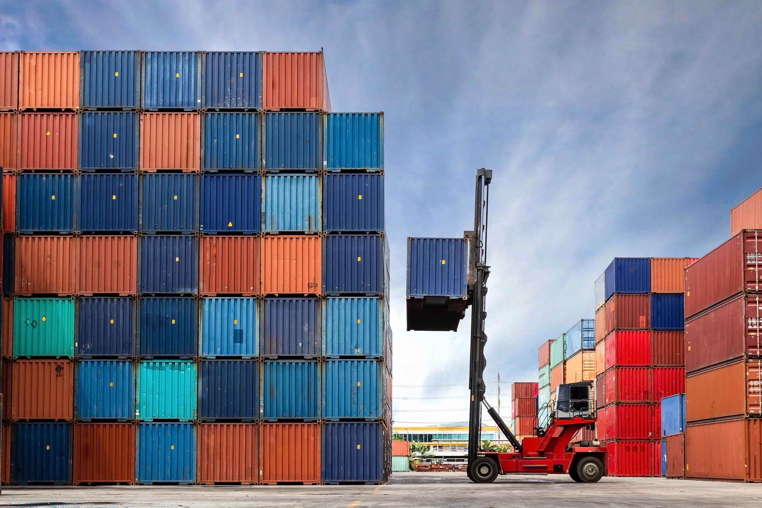 Image of containers at a cargo port