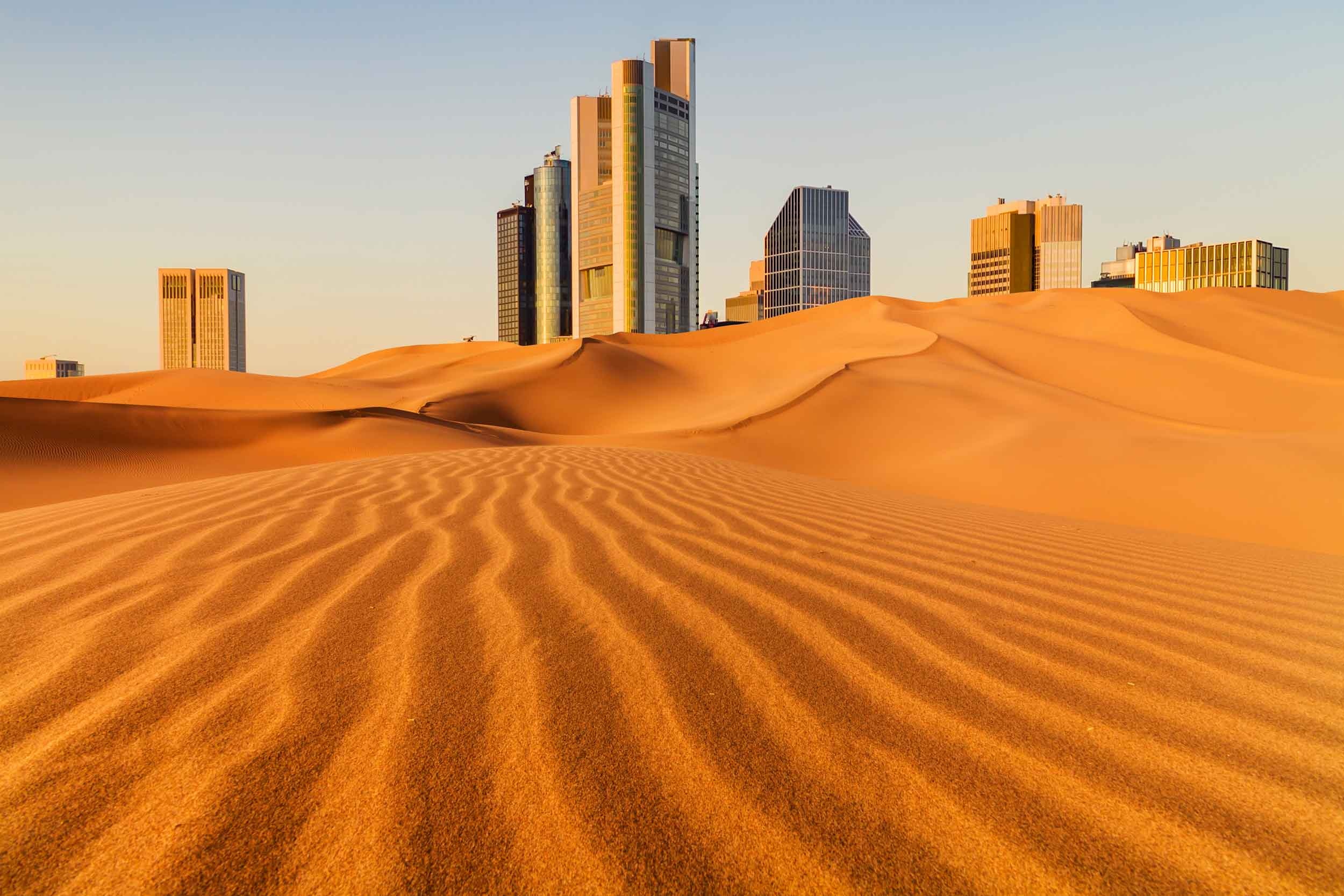Image of a city behind a desert