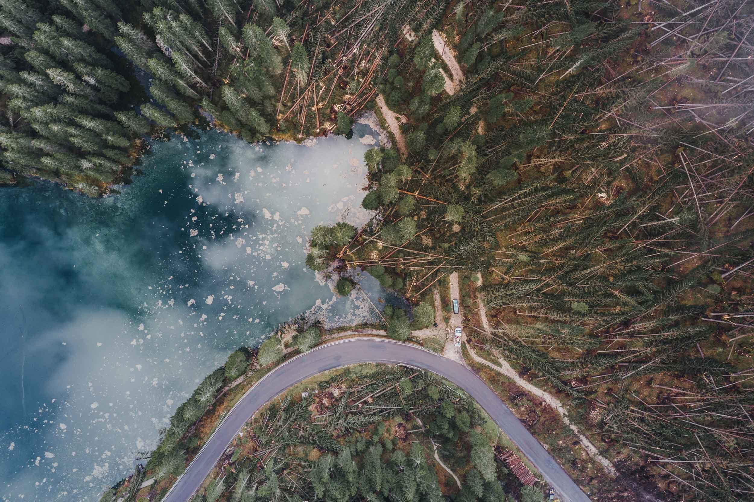 Lake Carezza with deforestation