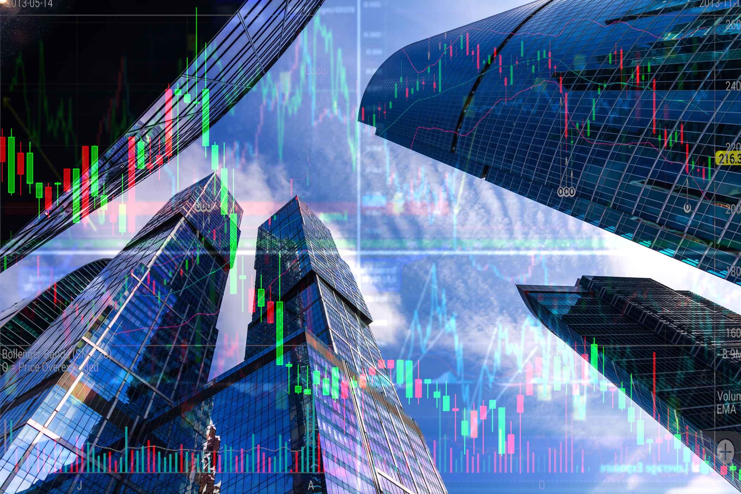Double exposure image of stock-market in front of skyscrapers
