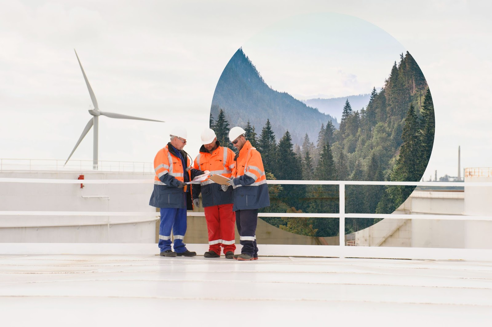 Composite image of workers in front of a wind turbine. Imbedded within this image is a circular photo showing a mountain scene